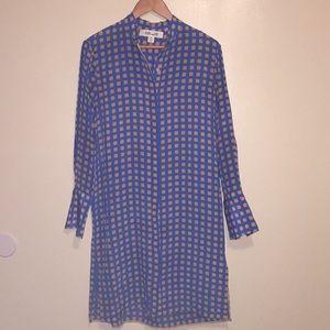 Diane von Furstenberg Silk Long Sleeve Shirt Dress